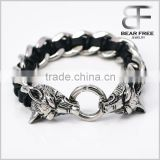New Innovative Christmas Gifts Engraved Wide Braided Leather Wolf Head Bracelet for men and bikers