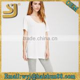fashion young custom plain white extra long t shirts,fitted long t shirts for women t shirts