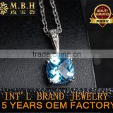 wholesale pendant ring earrings jewelry set 18K gold plating 925 silver natural blue topaz precious gemstone jewellery set
