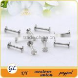 Wholesale body piercing jewelry double jeweled flower labret studs
