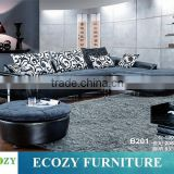Leather sofa with fabric cushions, leather fabric sofa, genuine leather combined with fabric sofa set