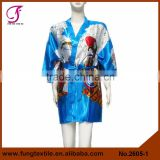 2605 Short Design Girl Pattern Silk Kimono Robes for Women