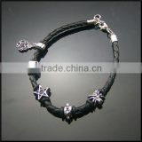 Nice design good quality pu cord small animal bead shape spider accessories alloy bracelet