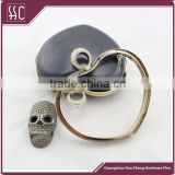 150*123mm light gold heart shape purse frame with rhinestone ring clutch frame with plastic shell
