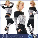 OEM Wholesale Custom Sey Casual Women's Sports Tops Sweatshirt+Pants Plain Track&Sweat Suits 2Pcs Tracksuit