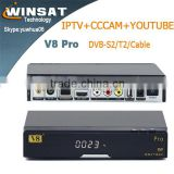2015download free mobile games V8 Pro HD free to air DVB-S2+T2+Cable satellite TV receiver Support IPTV CCCAM for SKY UK