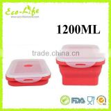 BPA Free 1200ML Silicone Collapsible Food Warmer Lunch Box With Lock, Foldable Food Container