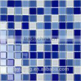 China Environmental Safe Blue Crystal Glass Mosaic Tile For Swimming Pool Border