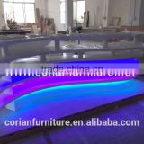 Modern design acrylic solid surface hi macs made colorful led lighted restaurant counter table