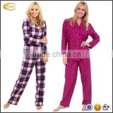 Ecoach OEM Low moq Women's 100% Cotton Flannel Pajama Set pyjamas wholesale women pyjamas