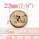 "50PCs Brown Animal Pattern Coconut Shell 2 Holes Sewing Buttons Scrapbooking 23mm(7/8""),Jewelry"