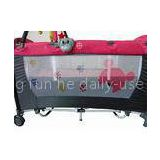 Red Folding Children Cot , Portable Baby Playpen Attached Big Canopy