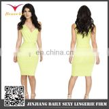 Wholesale popular style sell well bandage dress yellow