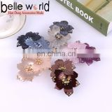 Beautiful Flower Hair Acetate Barrettes Clips With Rhinestone