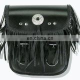 HMB-5004A LEATHER MOTORCYCLE SISSY BAR BAG CONCHO FRINGES STYLE