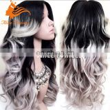 Brazilian grey human hair wig body wave gray hair full lace wig ombre two tone remy virgin full lace wig