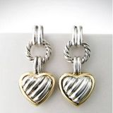 Designs Inspired David Yurman Sterling Silver cable heart drop earrings