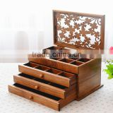 Antique style luxury solid wood jewelry display box, carving wood decorative box, wooden drawer boxes                                                                         Quality Choice