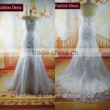 Fashion Dress Good Quality Strapless Sweetheart Neckline Beaded Real Trumpet Lace Wedding Dress