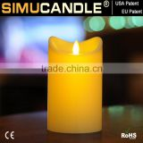 battery operated moving flame candle with timer and remote, USA patent approved below birthday
