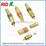 solder less type RCA male plug audio video connector,gold