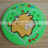 heart around ox animal design pvc coaster office desk gifts cup mat