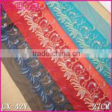 SGS Factory fashion red net cloth 27cm nylon embroidery Lace fabric