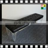 Clear acrylic base sofa bench long chair with black leather for sale