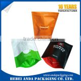 Aluminum foil matt black coffee bag with side gusset/ plastic packaging with zipper and valve