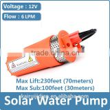 Solar Submersible water Pump price,12V 24V 6L/MIN Lift 70meter diaphragm dc pump for 30m deep well