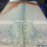 high quality gold Moroccan kaftan beaded lace fabric manufacturer (NEX-026-2)                                                                         Quality Choice