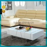 Brilliant quantity home furniture fashion white MDF wood modern coffee table with stainless steel base SJ-141                                                                         Quality Choice