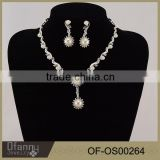 Factory Direct Bridal Wedding Accessory Crystal Pearl Pendant Necklace Set
