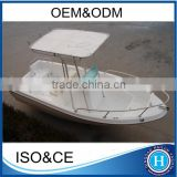 Fibreglass fishing boat T-top canopy panga boat with CE certificate