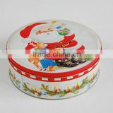 Lovely design round christmas tin box/Factory directly cookie candy cake tin cans