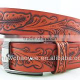LONGHORN RODEO HAND TOOLED BROWN LEATHER WESTERN BELT Belt Wholesale With Various Colors and Factory Prices