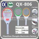 QX806-1 electronic mosquito swatter mosquito killer fly racket with round or flat plug