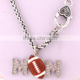 Mother's Day Gift Zinc Alloy Crystal MOM Football Necklace