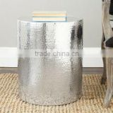 Accent Stool Silver Finshed Hammered Finished New Design Stool For Home Decor