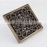 New Arrival Flower Carved Brass Bathroom Wetroom Floor Square Shower DraiTrap Waste Grate With Hair Strainer