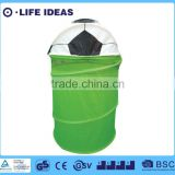 three-dimensional soccer lid covered green round foldable laundry basket pop up storage hamper