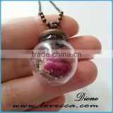 Hot selling DIY glass terrarium necklace & square glass ball necklace