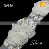Wholesale fashion flatback bridal veil flower lace trim