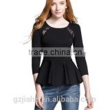Fashion Autumn Black Blouse Shirt Sexy Backless Lace Patchwork O-neck Long Sleeve Flouncing Ladies Tops