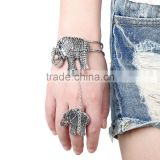 Vintage elephant charm finger chain ring bracelet 2016 cheap finger chain beracelet women hand bracelet jewelry
