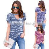 womens girls summer short sleeves camo blouse camo tops camo t-shirts