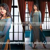 Designer Azure Blue, Orange color Chiffon Faux Georgette Fabric Salwar Kameez
