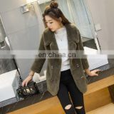 Merino Sheep Fur coat, real sheared sheepskin fur Suit jacket coat, full pelt real fur outwear for winter ,dark green color XXL