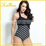 Fashion bowknot monokini black sexy one piece push up print swimwear