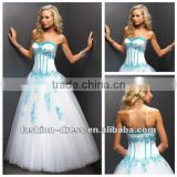 Beautiful Sweetheart Neckline White Free Shipping Prom Dress Made In China With Blue Applique